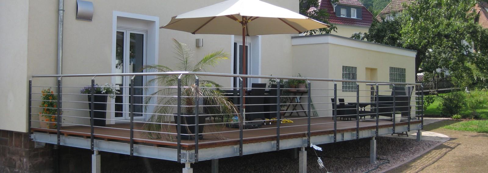 Terrasse Mit Geländer metallbau kunkel in partenstein - schlosserei, treppenbau